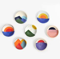 Each Mountain Dish is a hand formed and painted porcelain dish. Made in Highland Park, Los Angeles by Pauline Wolstencroft.       -Measures 4'' x 1''   -Available in 7 variations