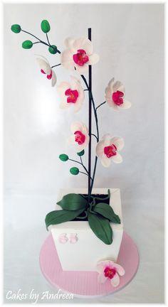 Fondant / Gum paste Orchids cake topper. Orchid cake. Inspired by Pirikos Cake Design.