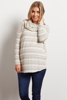 This striped cowl neck maternity top is a staple for every cold weather wardrobe and the cowl neck detail gives this already stylish piece a chic accent. Throw this maternity top on with your favorite jeans and ankle boots for a casual look.