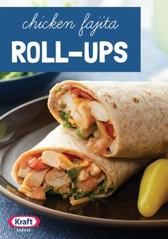 Chicken Fajita Roll-Ups — Chicken, cheese and fresh veggies rolled into a whole wheat tortilla bring a little sizzle to your table. Chunky salsa gives this low-cal wrap a kick.