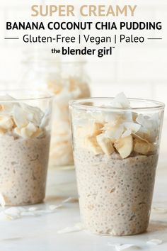 This banana coconut chia pudding is vegan, gluten-free, and paleo-friendly, and is a delicious breakfast or dessert recipe or a sweet snack. Banana Coconut Chia Pudding - Banana Coconut Chia Pudding {Vegan + Paleo-Friendly} - The Blender Girl Chia Pudding Vegan, Banana Chia Pudding, Banana Coconut, Chai Pudding, Coconut Chia Seed Pudding, Chia Pudding Breakfast, Flax Seed Pudding, Best Chia Pudding Recipe, Dairy Free Rice Pudding