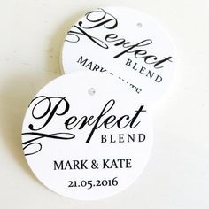 Perfect Blend personalised thank you tag. Great for coffee favours