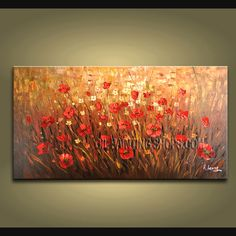 Enchant Original Impressionist Palette Knife Oil Painting On Canvas For Bed Room Flower. This 1 panel canvas wall art is hand painted by A.Leong, instock - $175. To see more, visit OilPaintingShops.com
