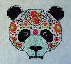 Panda Sugar Skull Cross Stitch Pattern