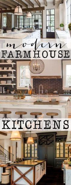 Modern Farmhouse Kitchens. So many stunning farmhouse kitchens full of traditional elements with a twist!  Get ready to be inspired!
