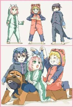 """Super cute.! Naruto, Sakura, and Sasuke as their summons and of course Kakashi"""