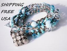 Turquoise Czech Glass Crochet Wrap Bracelet with by RopesofPearls, $38.00