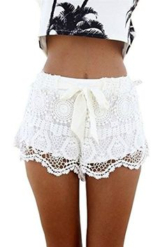 915b0271d7 Looking for the perfect Asherangel Women's New Sexy Elastic Openwork Celeb  Lace Crochet Bow Shorts Hot Pants White M? Please click and view this most  ...