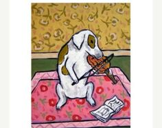 ON SALE Jack Russell Terrier Playing Stand Up Bass by SCHMETZPETZ