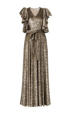 Co Velvet Ruffle Sleeve Gown