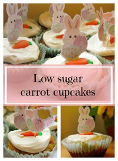 Low sugar carrot cupcakes. These toddler-friendly Easter treats contain no processed sugar and taste great. Perfect for baby led weaning!