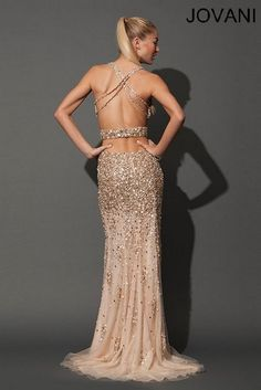 Golden Chunk Sequin Open Back