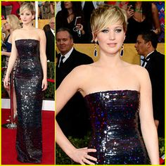 Jennifer Lawrence red carpet sag awards 2014