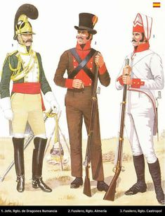 Spanish at Bailen, 1808. L to R Numana Dragoons, Officer, Infantry Regt Almeria, fusilier & Infantry Regt Castropol