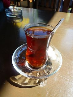 Turkish black tea, served with sugar cubes and out of a flared glass so you don't burn your fingers. Turkish Tea, Tea Glasses, Sugar Cubes, Punch Bowls, Spinning, Hand Spinning, Indoor Cycling