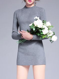 Gray Long Sleeve Stand Collar Plain Ribbed Sweater Dress