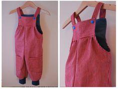 """Latzhosen - Latzhose """"Lina""""  Jeansstreifen rot weiss mit blau - ein Designerstück von Loeni-laden bei DaWanda"""