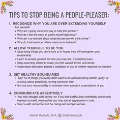 As people pleasers we tend to spend a lot of our time trying to be appreciated and liked by everyone around us. Mental And Emotional Health, Emotional Healing, People Pleaser, Self Care Activities, Happy Minds, Self Care Routine, Self Awareness, Emotional Intelligence, Best Self