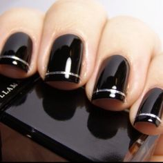Paint silver coat, apply strip tape, paint over with black. Love this look!