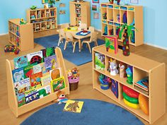 Heavy-Duty Toddler Double-Sided Storage Unit at Lakeshore Learning Daycare Setup, Daycare Themes, Classroom Decor Themes, Preschool Classroom Layout, Preschool Rooms, Daycare Spaces, Home Daycare, Infant Toddler Classroom, Starting A Daycare