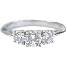Pre-owned Tiffany & Co. Platinum 3-Stone Diamond Engagement Ring ($3,950) ❤ liked on Polyvore featuring jewelry, rings, platinum jewelry, platinum ring, round engagement rings, pandora jewelry and round diamond ring