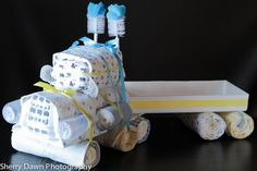 Semi-Truck Diaper Cake www.facebook.com/AngelsAndScallywags