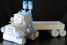Semi-Truck Diaper Cake www.facebook.com/AngelsAndScallywags