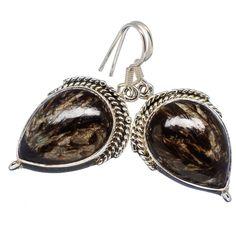"""Golden Seraphinite 925 Sterling Silver Earrings 1 3/4"""" EARR331234"""