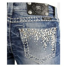 Miss Me Sequin Skinny Stretch Jean ($109) ❤ liked on Polyvore