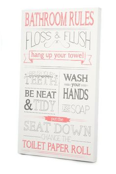 Bathroom Rules Art Piece by Twelve Timbers on @HauteLook