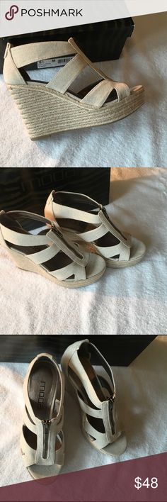 "MODA KINSY WEDGE SANDAL Stone, Size 8.5 MODA KINSY WEDGE SANDAL in Stone * Linen fabric upper * Front zipper for easy on/off * Round peep toe * 1¼"" platform, 4"" espadrille wedge heel Moda International Shoes Wedges"
