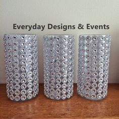 Silver or gold wedding centerpiece vases, baby  shower decorations, bridal shower decorations, 7inches through 10 inch tall vases, wedding centerpieces, party decorations, bling vases, wedding bling, wedding supplies, recepetion