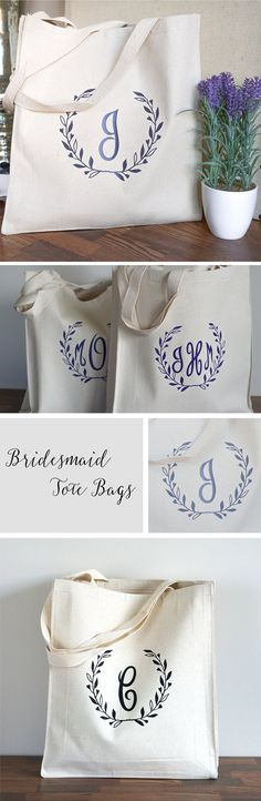 Bridesmaid Tote Bags | Gift Bags for Bridesmaids | Monogrammed Totes