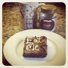 What more could you want - an 'Eat Me' #brownie and Beanies Chocolate Flavoured coffee :) YUMMMM!