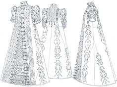 Patterns of Fashion: The Cut and Construction of Clothes for Men and Women C1560-1620 by Janet Arnold Page 109 & 111. I created my pattern based on the drawings on page 109 & 111 and the pattern drawings on page 112.  My garment will not have the embroidery or the same trim, buttons, etc.  I do not want to copy the garment exactly.
