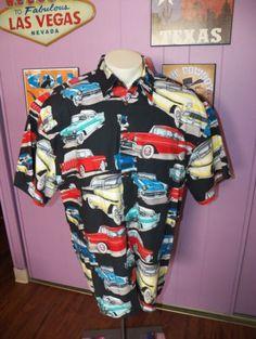 HIGH-SEAS-Chevy-Chevrolet-50-USA-MADE-Lounge-Rockabilly-Mens-Shirt-SIZE-XXL-2XL