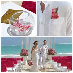 Celebra tu boda con nosotros en PuntaCana/Celebrate your wedding with us Punta Cana. Karen Bussen's Romantic Ocean Pearl Package shimmers with lilies, tulle and pearl accents