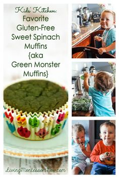These sweet spinach muffins are gluten-free, refined-sugar-free, dairy-free, egg-free, and protein-rich! They can be called Green Monster Muffins or any name that makes spinach muffins sound as good as they taste! - Living Montessori Now Spinach Muffins, Spinach Protein, Oat Muffins, Monster Muffins, Vegan Protein Powder, Chocolate Muffins, Egg Free, Food Allergies