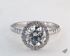 14K White Gold Pave Halo and Shank Diamond Engagement Ring (Round)   17305W14 - Mobile