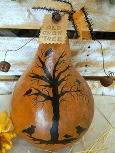 Primitive Halloween OLD CROW TREE Gourd Folk Art * Pumpkin Bat Ghost Grungy   eBay