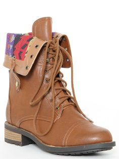 Faux Leather Foldover Combat Boot in Cognac