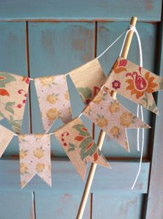 Bunting Cake Topper //READY TO SHIP// by ApplesModernArt on Etsy, $17.00