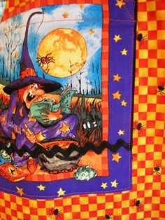 Halloween Aprons at www.stitchthrutime.com with this fun witch apron pocket.