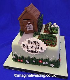 Garden Shed Allotment Birthday Cake « Imaginative Icing - Modern Square Birthday Cake, 90th Birthday Cakes, 80 Birthday, Shed Cake Ideas, Allotment Cake, Paul Cakes, Dad Cake, School Cake, Girly Cakes