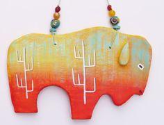 Clay buffalo bison southwest rock art by MokiTradingPost on Etsy