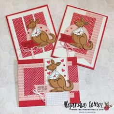 How to make three cute friendship cards using the Kangaroo & Company bundle from Stampin' UP! Friendship Cards, Kids Cards, Kangaroo, Stampin Up, Paper Crafts, Crafty, Holiday Decor, Mini, Cute