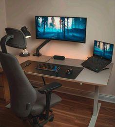 Pc Setup, Desk Setup, Room Setup, Dream Desk, Home Office Setup, Ergonomic Chair, Home Studio, Interior Exterior, Desk Organization