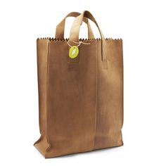 Leather bag handmade in India.  But it looks like a paper bag, doesn`t it?  Clever stuff!