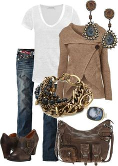 like the sweater details and low boots. earrings, too. Bag has too much hardware and pockets on it.