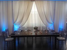 Nicpon Productions is a Chicago Wedding DJ, event lighting and décor company that specializes in elegant, contemporary wedding and social events. Head Table Backdrop, Fabric Backdrop, White Backdrop, Draped Fabric, Fabric Decor, Barn Table, Accent Lighting, Wedding Dj, Chicago Wedding